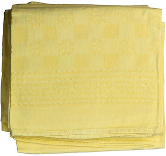 One Kings Lane Vintage Antique French Yellow Linen Napkins - Set of 6 - Rose Victoria
