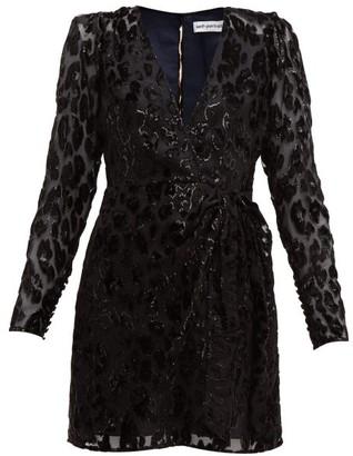 Self-Portrait Leopard-devore Mini Dress - Womens - Black Navy