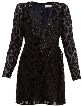 Self-Portrait Self Portrait Leopard-devore Mini Dress - Womens - Black Navy