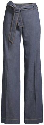 Lafayette 148 New York Broadway Tie-Belt Flare Jeans