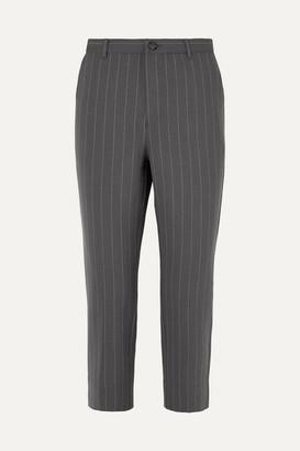 Ganni Pinstriped Stretch-cady Straight-leg Pants - Light gray