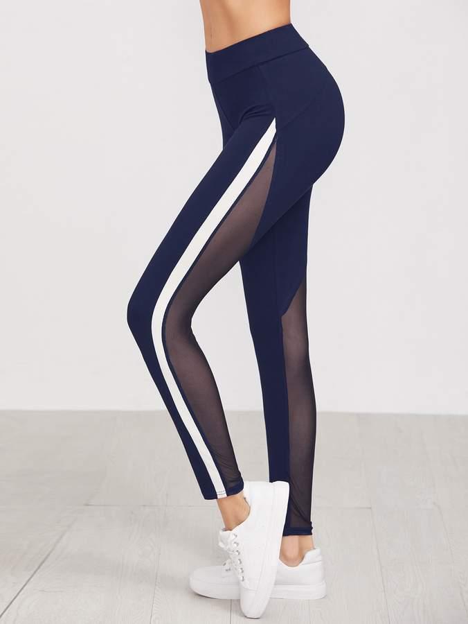 43d691fabf34b Mesh Panel Leggings - ShopStyle