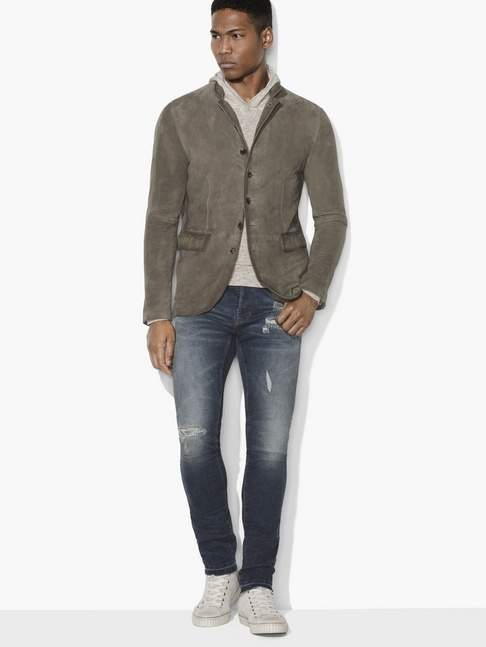 John Varvatos Suede Multi-Button Jacket