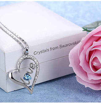 Swarovski Golden Nyc Golden NYC Women's Necklaces White - Blue & Silvertone 'Love' Heart Pendant Necklace With Crystals
