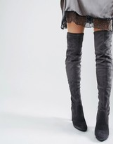 Dune Sibyl Thigh High Suede Heeled Over The Knee Boots