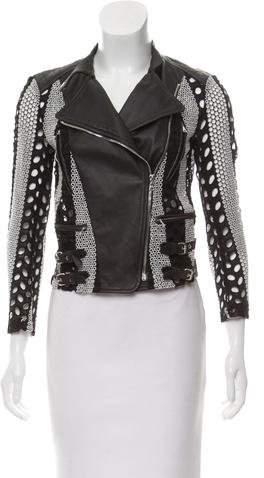 Yigal Azrouel Leather-Trimmed Eyelet Jacket