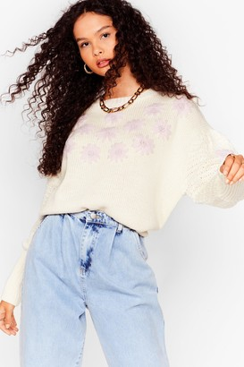 Nasty Gal Womens Knit's Not Me Embroidered Floral Sweater - Cream