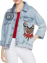 Maje Baltimore Embroidered Denim Jacket