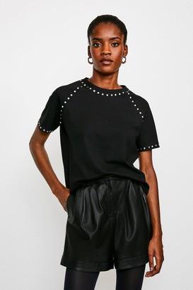 Karen Millen Stud Detail Jersey T Shirt
