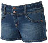 UNIONBAY Juniors' 2-Button Crisscross Denim Shortie Shorts