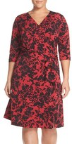 Vince Camuto Plus Size Women's 'Modern Confetti' Print Jersey Three-Quarter Sleeve Wrap Dress