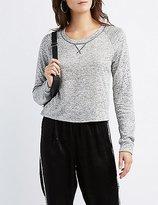 Charlotte Russe Marled Cropped Sweatshirt
