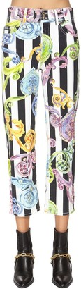 Versace All Over Printed Cotton Denim Jeans