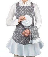 Waverly 2-Piece Gray Pattern Apron and Kitchen Towel Hostess Set