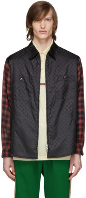 Gucci Black GG Check Sleeve Jacket