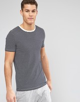 Asos Loungewear Muscle T-shirt In Navy And Ecru Stripe