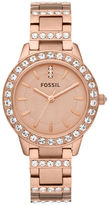 Fossil Ladies Jesse Rose Goldtone Stainless Steel Watch with Crystal Accents