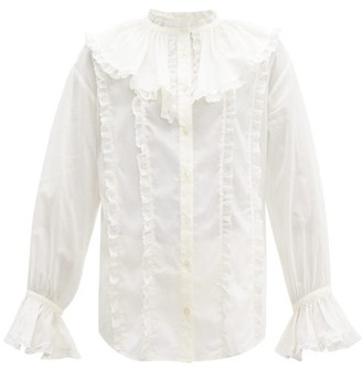 See by Chloe Ruffled Collar Lace And Cotton Blouse - Womens - Ivory