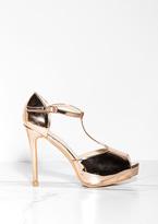Missy Empire Nina Rose Gold Metallic T Bar Heels