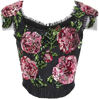 Dolce & Gabbana Tulle-trimmed Sequined Jacquard Top