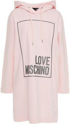Love Moschino Appliqued French Cotton-blend Terry Hooded Mini Dress