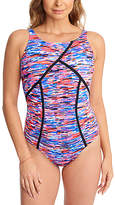 Penbrooke Pink & Blue Abstract High-Neck One-Piece - Plus Too
