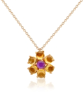 Forzieri Amethyst and Citrine Flower 18K Gold Pendant Necklace