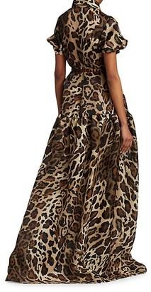 Naeem Khan Leopard-Print Silk Collared Gown