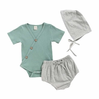 Oksea Newborn Infant Baby Boys Girls Romper Shorts Outfits Solid Bodysuit Romper+Striped Shorts Hat Outfits Set Green