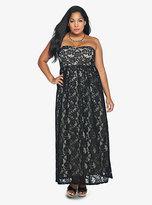 Torrid Black Lace & Nude Strapless Maxi Dress