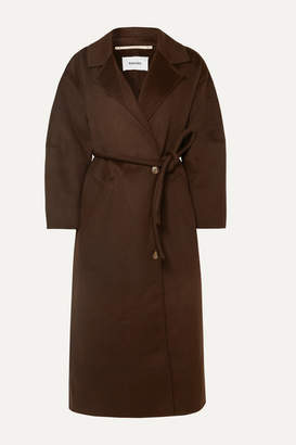 Nanushka Loane Oversized Belted Wool And Silk-blend Coat - Dark brown