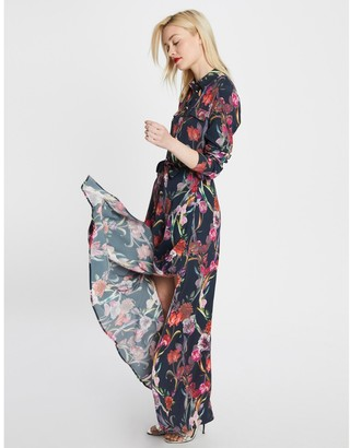 Morgan Floral Print Maxi Dress with Buttoned Top and Side Split