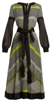 Amanda Wakeley Long-sleeved geometric-print silk midi dress