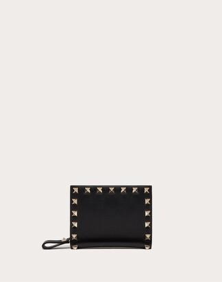 Valentino Small Rockstud Calfskin Wallet Women Black Calfskin 100% OneSize