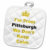 3dRose Xander Keep Calm quotes - dont keep calm, Pittsburgh, yellow and black letters on white background - 8x8 Potholder (phl_180044_1)
