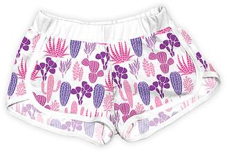 Urban Smalls Girls' Casual Shorts Multi/White - Pink & White Cacti Aloe Shorts - Toddler & Girls