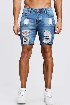 boohoo Slim Fit Heavily Distressing Denim Shorts