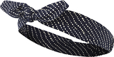 Fat Face Spot Bow Cotton Headband, Navy/White