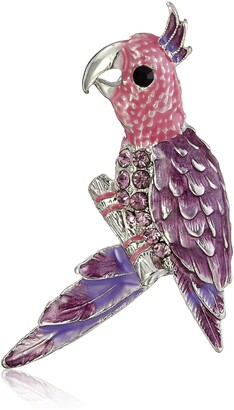 1928 Jewelry Framed Silver-Tone Purple and Pink Parakeet Bird Pin