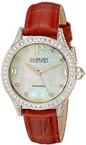 August Steiner Women's AS8188RD Rose Gold Crystal Accented Quartz Watch with White Mother of Pearl Dial and Red Embossed Leather Bracelet