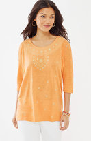 J. Jill Sunset Embellished Linen Tee