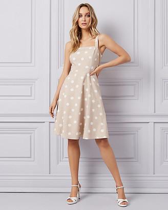 Le Château Dot Print Fit & Flare Dress
