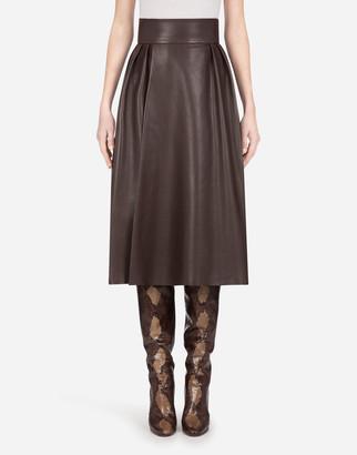 Dolce & Gabbana Longuette Skirt In Plonge Lambskin