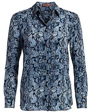 Altuzarra Women's Chika Snakeskin-Print Silk Shirt