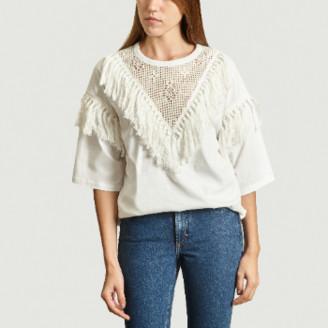 See by Chloe White Lace Fringe T shirt - s | cotton | white - White/White