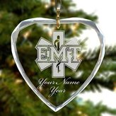 SkunkWerkz Personalized Heart Glass Christmas Ornament - EMT Emergency Medical Technician - Engraved For Free