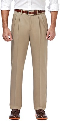 "Haggar Premium No Iron Classic Fit Pleated Pants - 29-34"" Inseam"