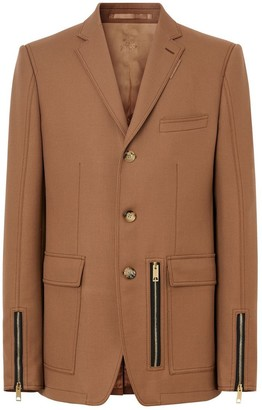 Burberry English Fit Zip Detail Wool Tailored Jacket