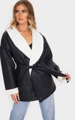 PrettyLittleThing Black Aviator PU Tie Waist Long Sleeve Jacket