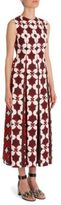 Valentino Cuban Flower Pleated Cotton & Linen Dress